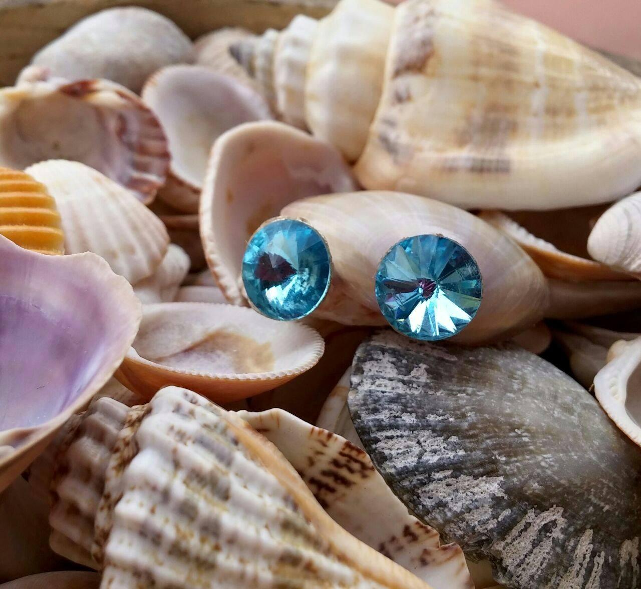 Pendientes Rivoli azules aguamarina